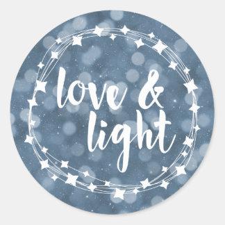 Love & Light Bokeh Hanukkah Classic Round Sticker
