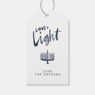 Love + Light Hanukkah Gift Tag - Dark