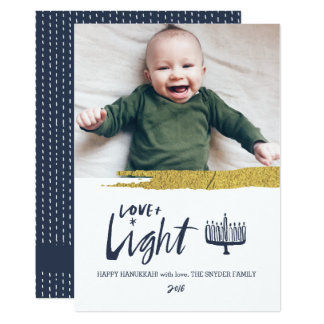 Love + Light Hanukkah Holiday Photo Card - Dark