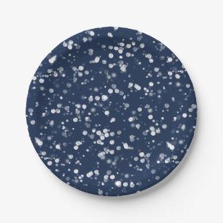 Love & Light |  Lovely Navy Blue Bokeh Hanukkah Paper Plate