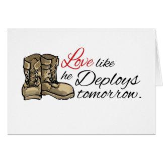 Love like he Deploys tomorrow Greeting Cards