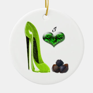 Love Lime Green Stiletto Shoe and Chocolates Ornam Christmas Ornament