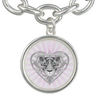 Love Lioness Locket charm bracelet (pink starburst