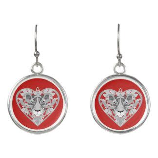 Love Lioness Locket (red) drop earrings