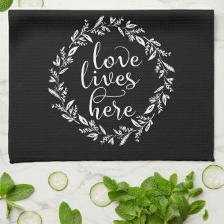 Love Lives Here Wreath Tea Towel