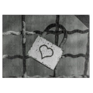 Love lock in black and white glass cutting board