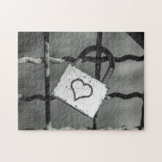Love lock in black and white photo puzzle