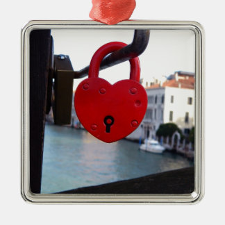 love lock in venice Silver-Colored square decoration