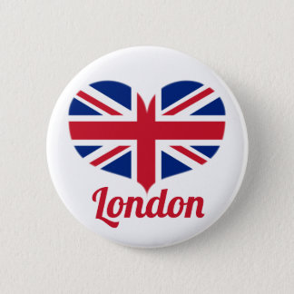 Love London | Heart Shaped UK Flag / Union Jack 6 Cm Round Badge