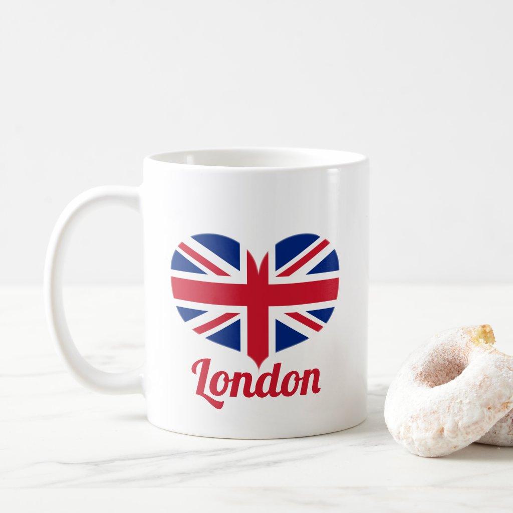 Love London | Heart Shaped UK Flag / Union Jack Coffee Mug