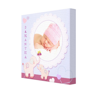 Love Love Elephant Baby Photo Gift Gallery Wrap Canvas