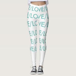 LOVE/LOVE, white and teal leggings