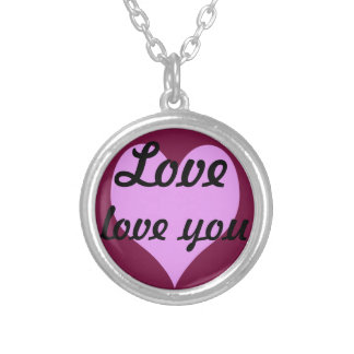 Love,love you round pendant necklace
