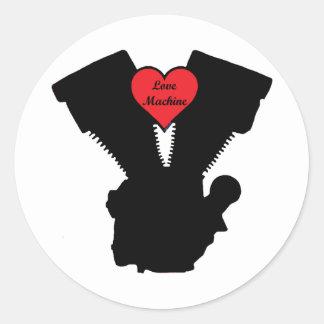 love machine round sticker