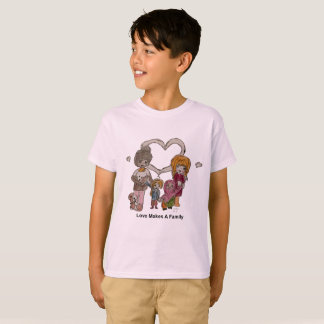 Love Makes a Family by Ainsley--Kids' Pink T-Shirt