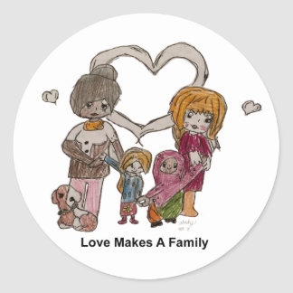 Love Makes a Family by Ainsley--Sticker Classic Round Sticker
