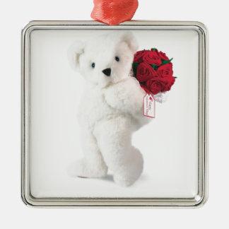 Love Makes Life Bearable! Square Metal Christmas Ornament