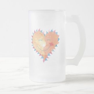 Love Makes Me Smile Frosted Glass Beer Mug