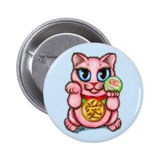 LOVE Maneki Neko Good Luck Cat Cute Art Button