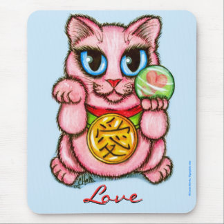 LOVE Maneki Neko Good Luck Cat Cute Art Mousepad