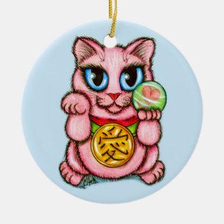 LOVE Maneki Neko Good Luck Cat Cute Art Ornament