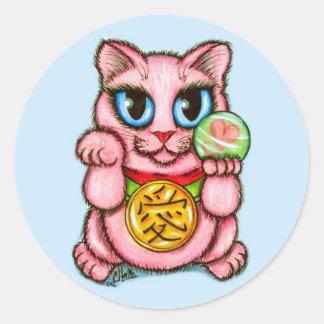 LOVE Maneki Neko Good Luck Cat Cute Art Sticker