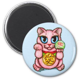 LOVE Maneki Neko Good Luck Cat Fantasy Art Magnet