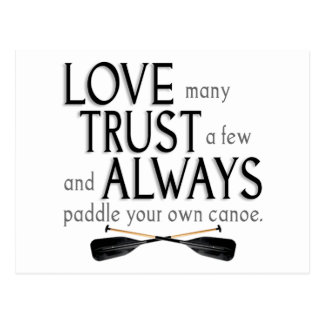 Love Many, Trust a Few Postcard