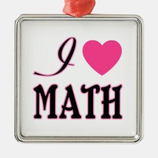 Love Math Pink Heart Logo Christmas Ornaments