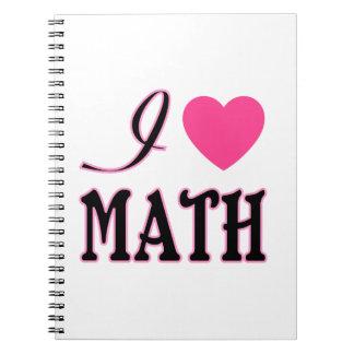 Love Math Pink Heart Logo Notebook