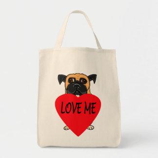 """Love Me"" dog custom tote bags"