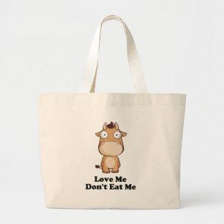 Love Me Don t Eat Me Cow Design Tote Bag