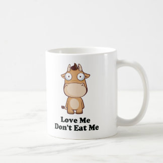 Love Me Don't Eat Me Cow Design Basic White Mug