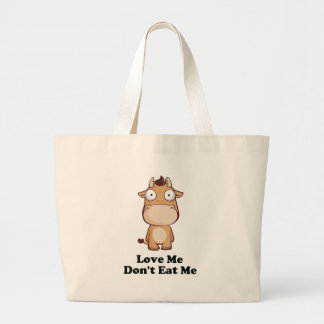 Love Me Don't Eat Me Cow Design Large Tote Bag