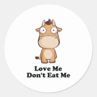 Love Me Don't Eat Me Cow Design Round Sticker