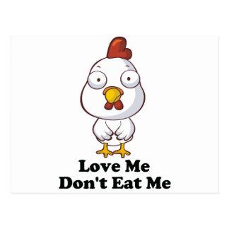 Love Me Don't Eat Me Hen Design Postcard
