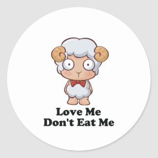 Love Me Don't Eat Me Sheep Design Round Sticker