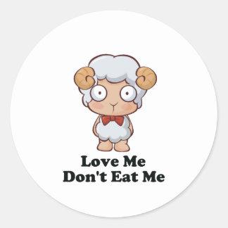 Love Me Don't Eat Me Sheep Design Round Sticker