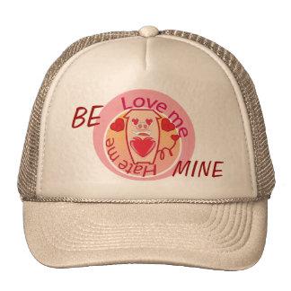 Love me Hate me pink pig hat