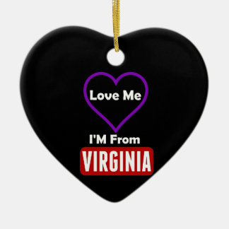 Love Me, I'M From Virginia Ceramic Heart Decoration