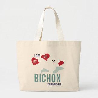 Love ME Love my Bichon Tote Bag