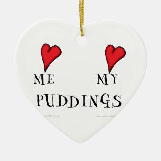 love me love my puddings, tony fernandes ceramic heart decoration