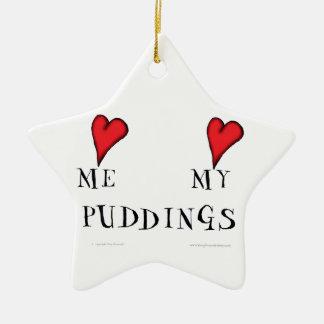 love me love my puddings, tony fernandes ceramic star decoration