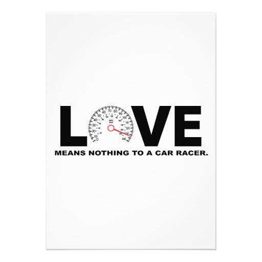 Love Means Nothing to a Car Racer 2 Invitation