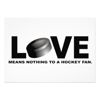 Love Means Nothing to a Hockey Fan Personalized Invite