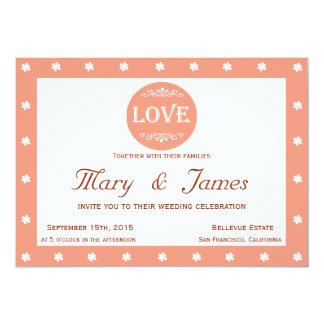 LOVE MEDALLION & FLOWERS pink horizontal frame 13 Cm X 18 Cm Invitation Card
