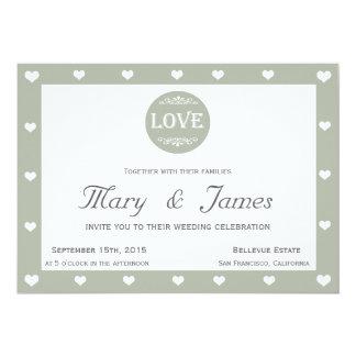 LOVE MEDALLION & HEARTS (horizontal) 13 Cm X 18 Cm Invitation Card