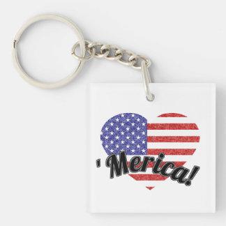 Love 'Merica - USA Heart Shaped Flag Single-Sided Square Acrylic Key Ring