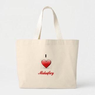 love midwifery large tote bag
