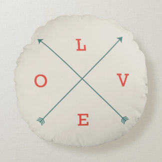 Love Modern Arrow Typography Art Minimalist Round Cushion